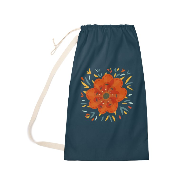 Decorative Orange Flower Accessories Laundry Bag Bag by Boriana's Artist Shop