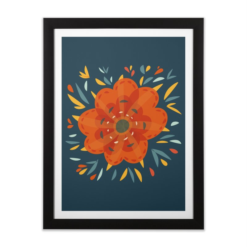 Decorative Orange Flower Home Framed Fine Art Print by Boriana's Artist Shop
