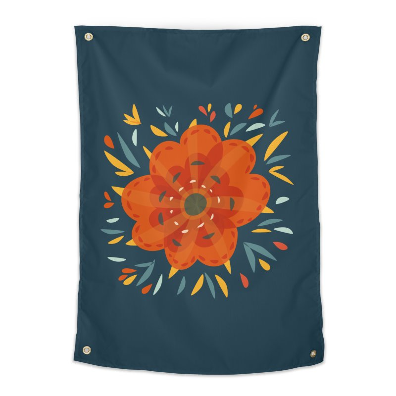 Decorative Orange Flower Home Tapestry by Boriana's Artist Shop