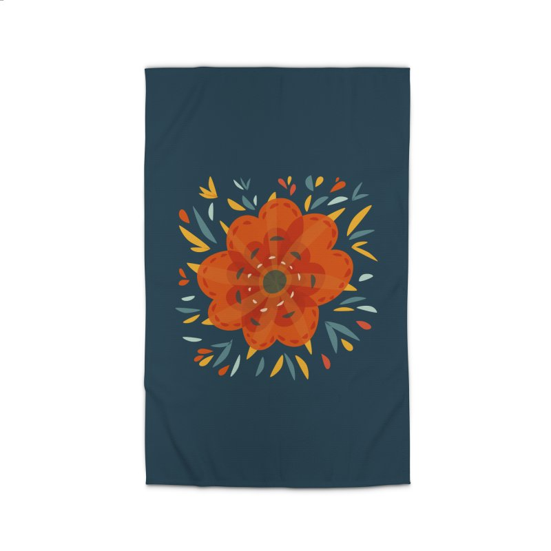 Decorative Orange Flower Home Rug by Boriana's Artist Shop