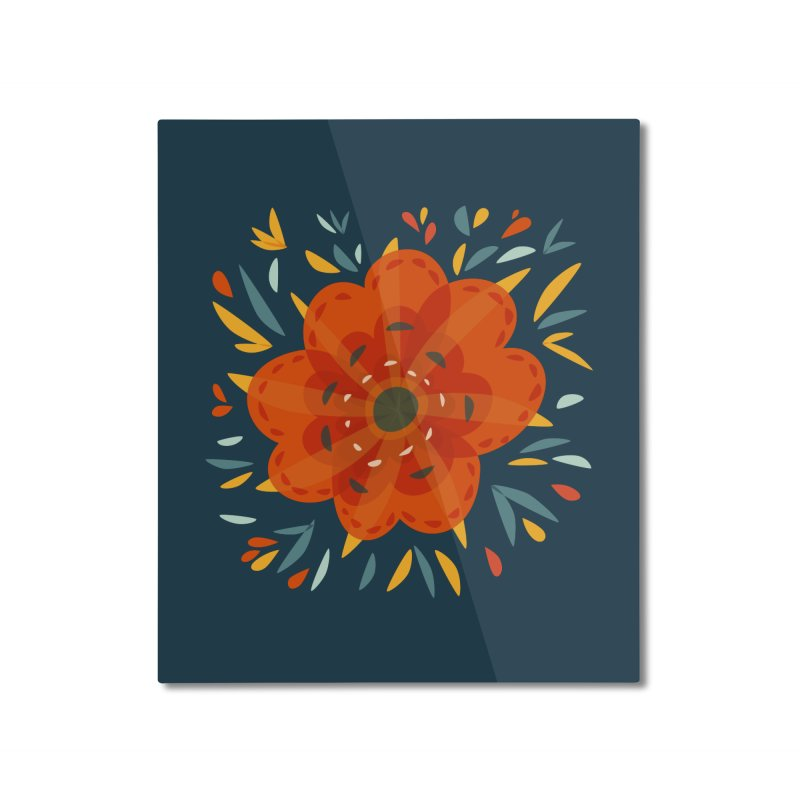 Decorative Orange Flower Home Mounted Aluminum Print by Boriana's Artist Shop