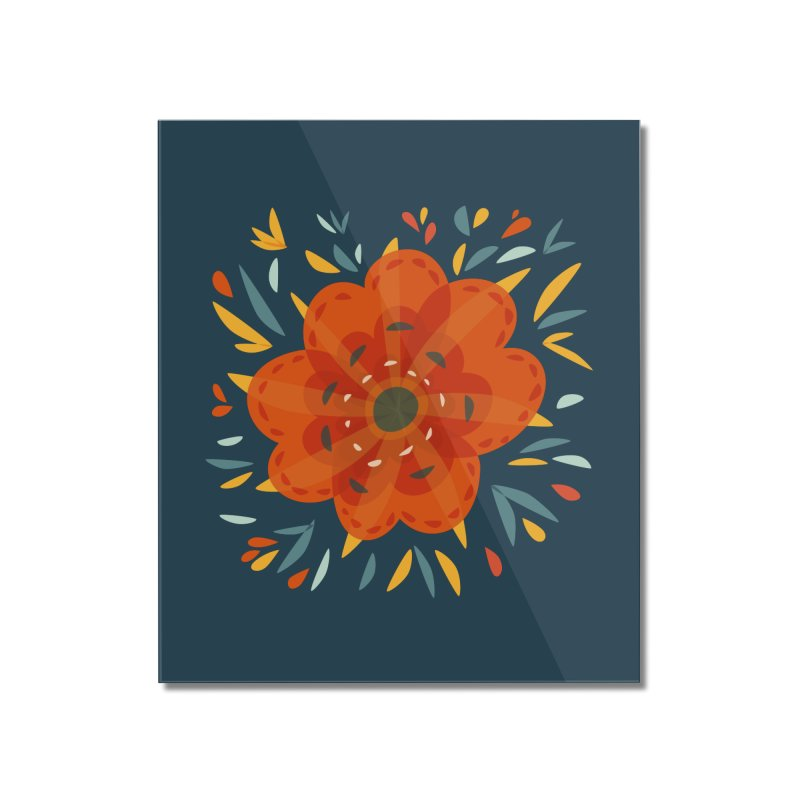 Decorative Orange Flower Home Mounted Acrylic Print by Boriana's Artist Shop