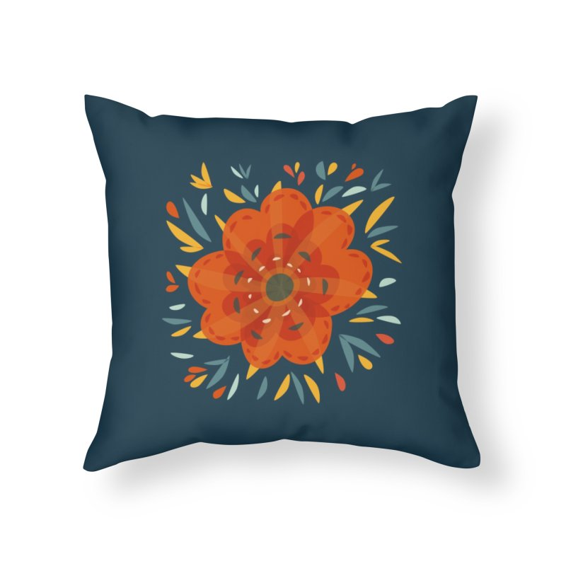 Decorative Orange Flower Home Throw Pillow by Boriana's Artist Shop