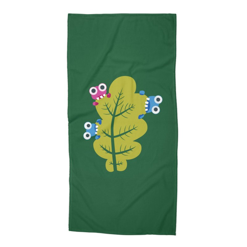 Cute Green Leaf Eaters Accessories Beach Towel by Boriana's Artist Shop
