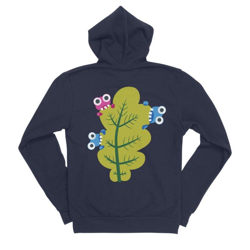 Cute Green Leaf Eaters Men's Sponge Fleece Zip-Up Hoody by Boriana's Artist Shop