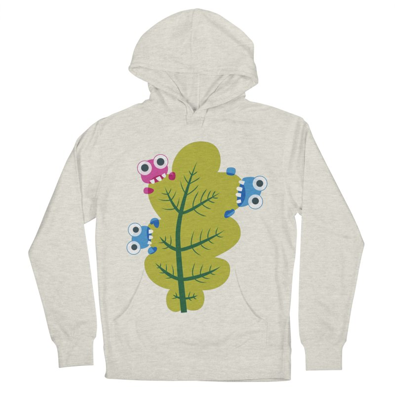 Cute Green Leaf Eaters Women's French Terry Pullover Hoody by Boriana's Artist Shop