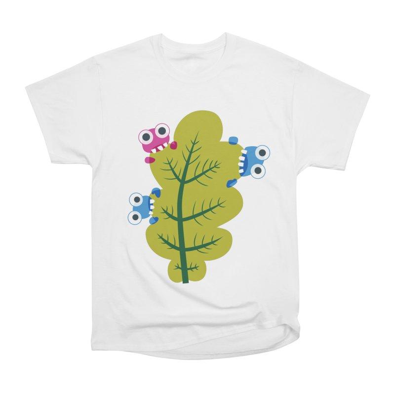 Cute Green Leaf Eaters Men's Heavyweight T-Shirt by Boriana's Artist Shop