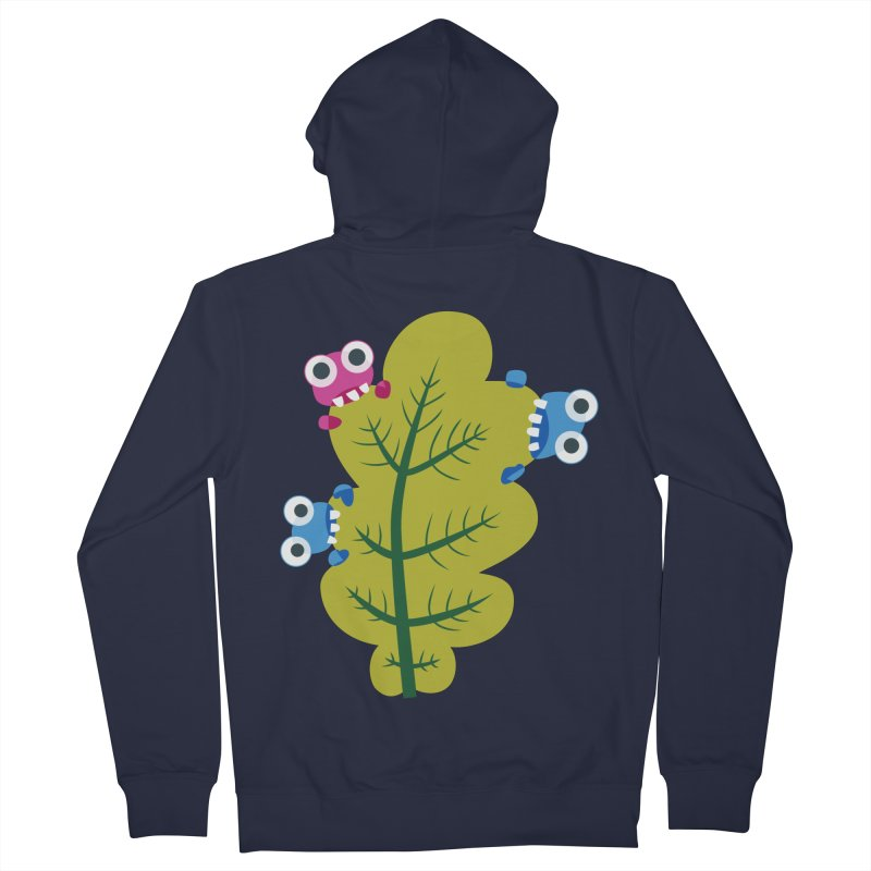 Cute Green Leaf Eaters Women's French Terry Zip-Up Hoody by Boriana's Artist Shop