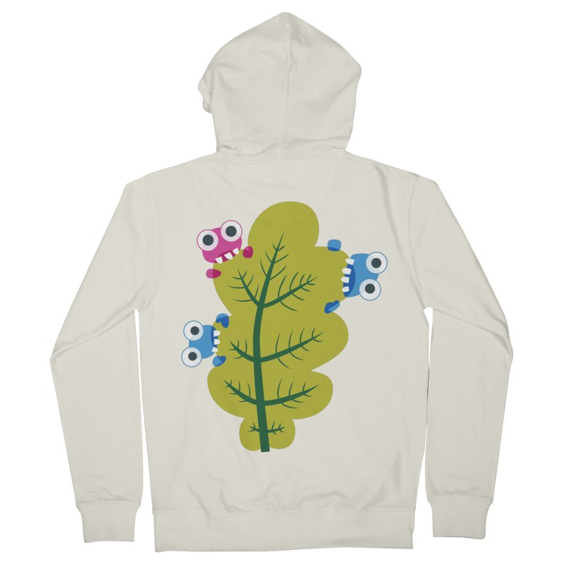 Cute Green Leaf Eaters Men's French Terry Zip-Up Hoody by Boriana's Artist Shop