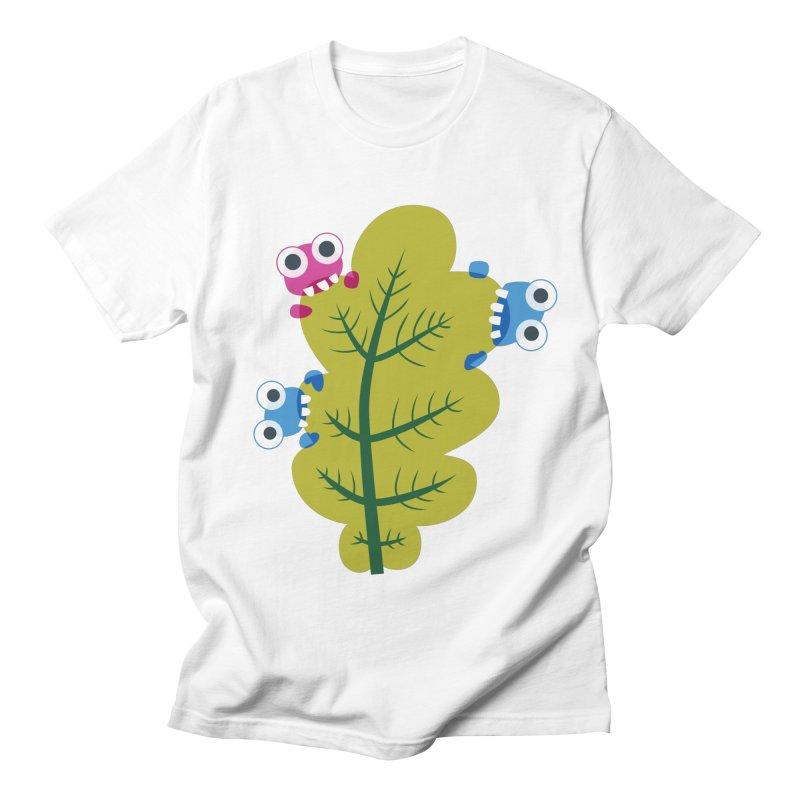 Cute Green Leaf Eaters Men's Regular T-Shirt by Boriana's Artist Shop