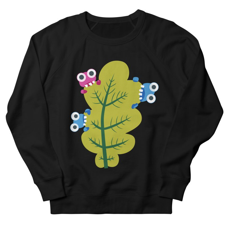 Cute Green Leaf Eaters Men's French Terry Sweatshirt by Boriana's Artist Shop