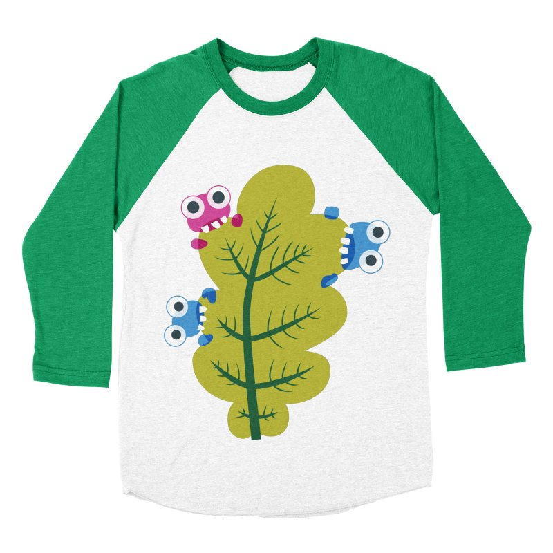 Cute Green Leaf Eaters Women's Baseball Triblend Longsleeve T-Shirt by Boriana's Artist Shop