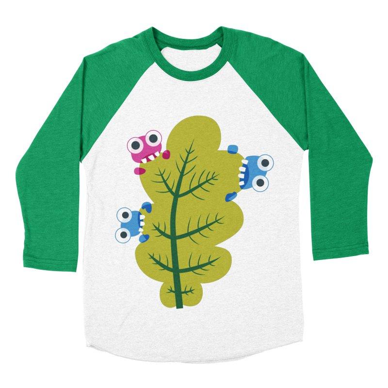 Cute Green Leaf Eaters Men's Baseball Triblend Longsleeve T-Shirt by Boriana's Artist Shop