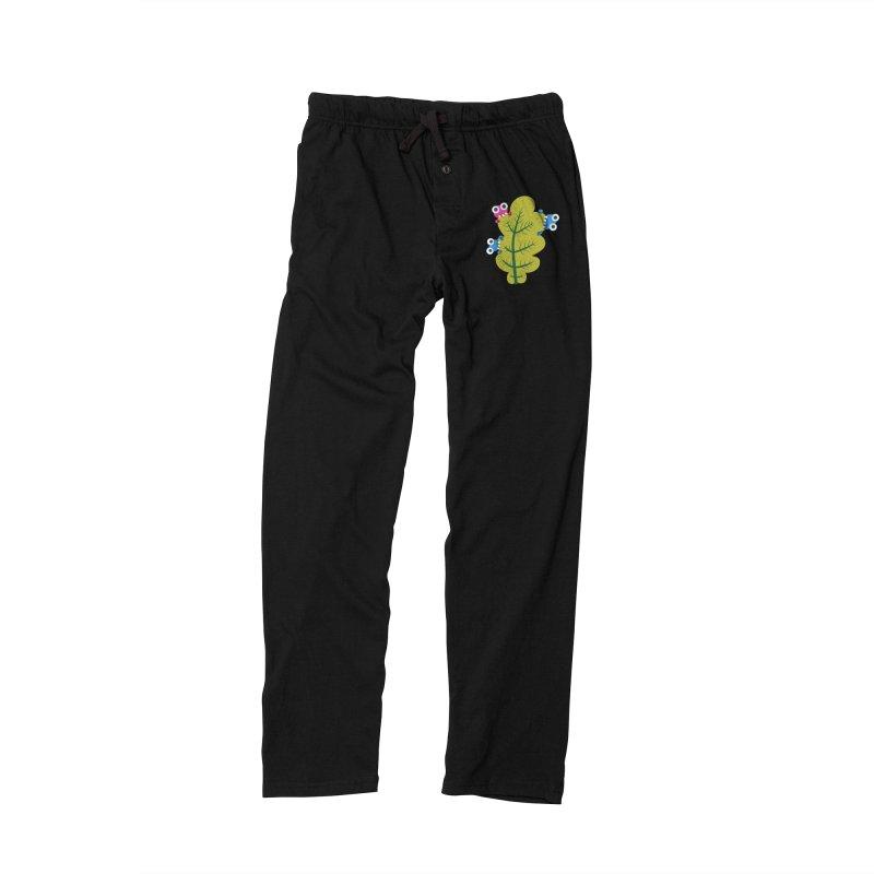 Cute Green Leaf Eaters Men's Lounge Pants by Boriana's Artist Shop