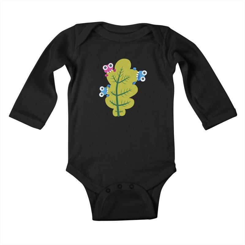 Cute Green Leaf Eaters Kids Baby Longsleeve Bodysuit by Boriana's Artist Shop
