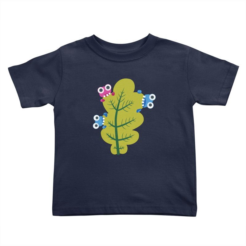 Cute Green Leaf Eaters Kids Toddler T-Shirt by Boriana's Artist Shop