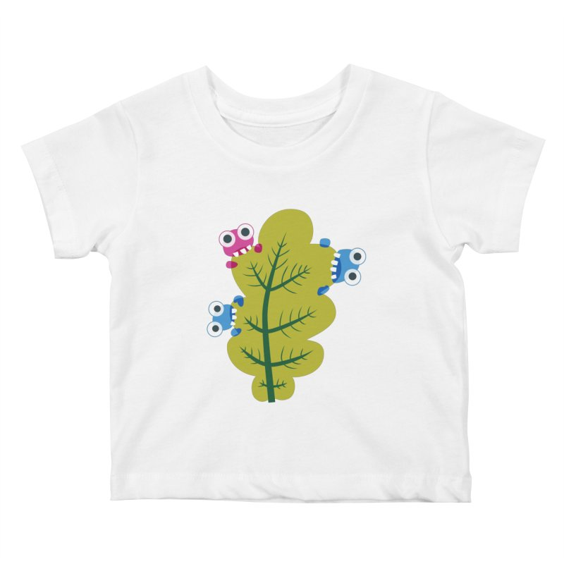 Cute Green Leaf Eaters Kids Baby T-Shirt by Boriana's Artist Shop