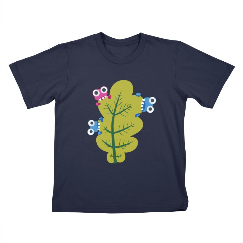 Cute Green Leaf Eaters Kids T-Shirt by Boriana's Artist Shop