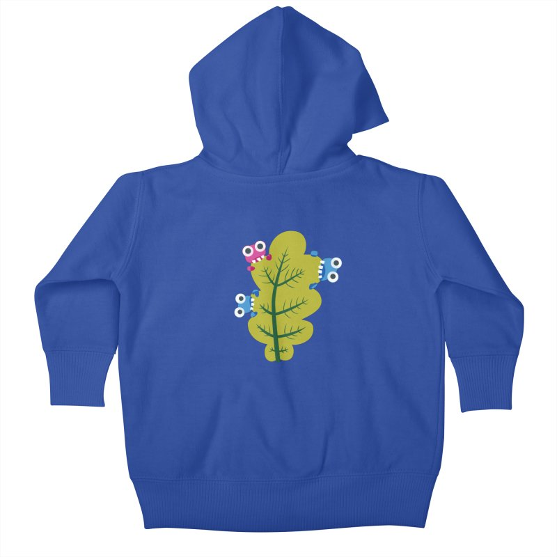 Cute Green Leaf Eaters Kids Baby Zip-Up Hoody by Boriana's Artist Shop