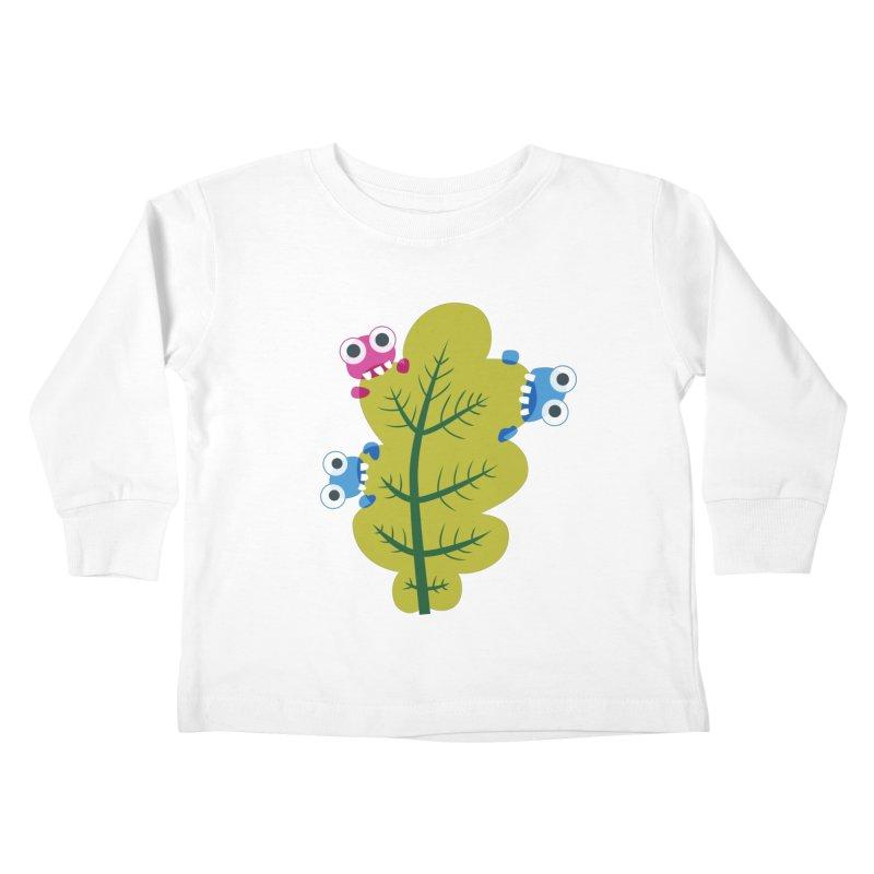 Cute Green Leaf Eaters Kids Toddler Longsleeve T-Shirt by Boriana's Artist Shop