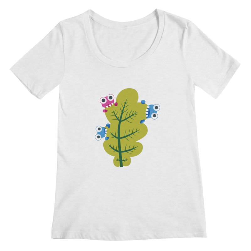 Cute Green Leaf Eaters Women's Regular Scoop Neck by Boriana's Artist Shop