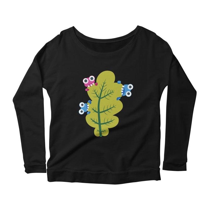 Cute Green Leaf Eaters Women's Scoop Neck Longsleeve T-Shirt by Boriana's Artist Shop