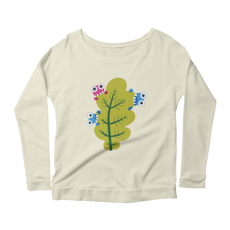 Cute Green Leaf Eaters Women's Scoop Neck Longsleeve T-Shirt by Boriana's Artist Shop