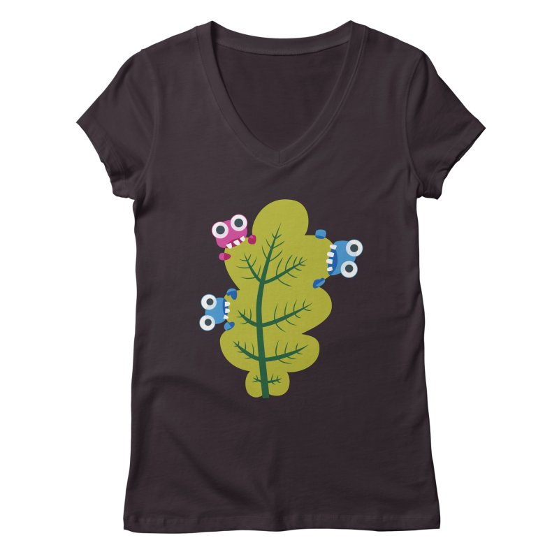 Cute Green Leaf Eaters Women's Regular V-Neck by Boriana's Artist Shop