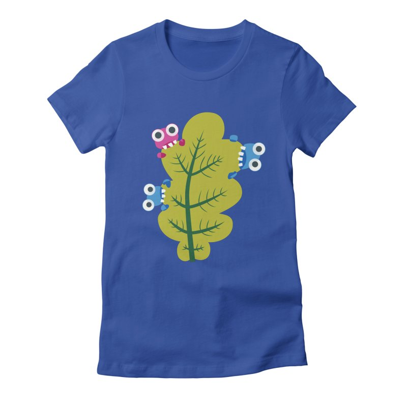 Cute Green Leaf Eaters Women's Fitted T-Shirt by Boriana's Artist Shop