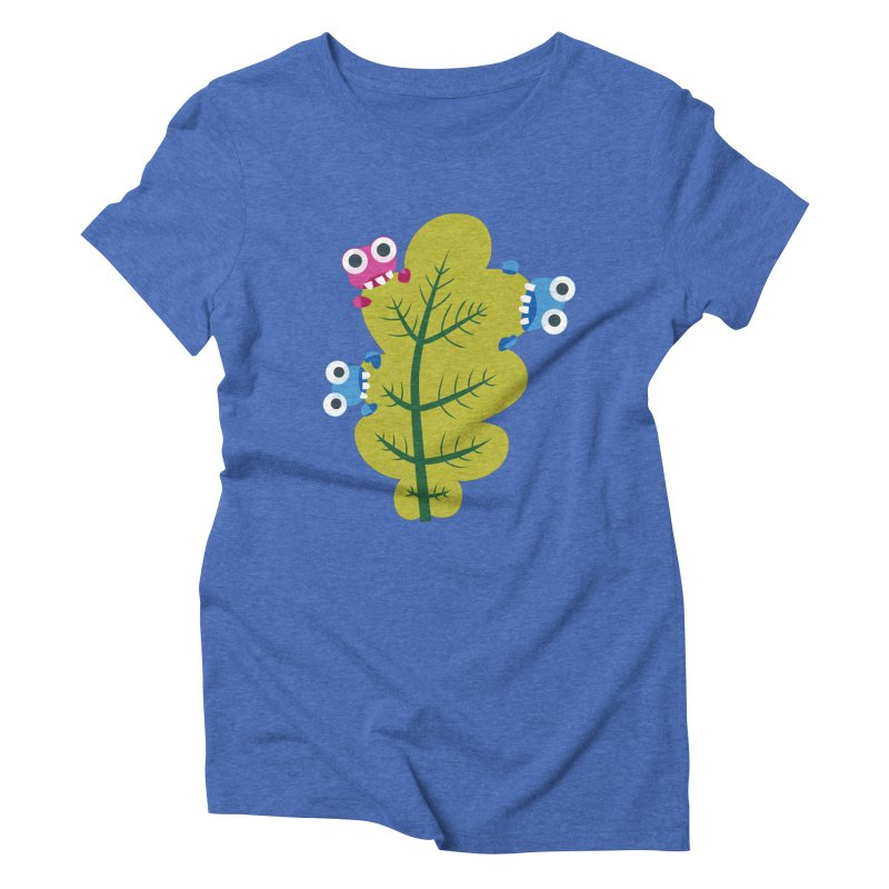 Cute Green Leaf Eaters Women's Triblend T-Shirt by Boriana's Artist Shop