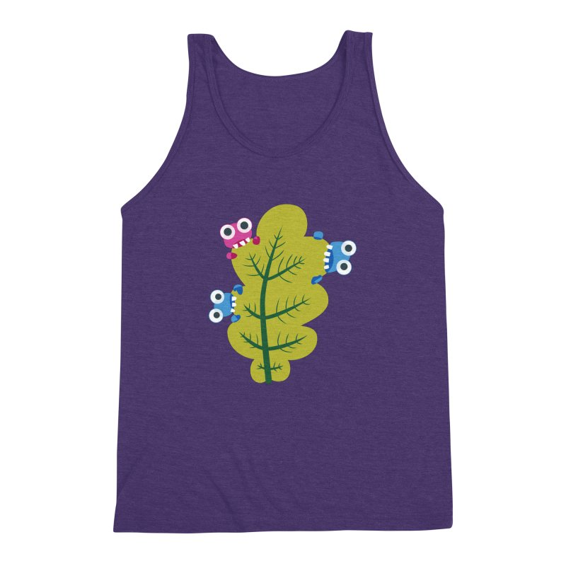 Cute Green Leaf Eaters Men's Triblend Tank by Boriana's Artist Shop