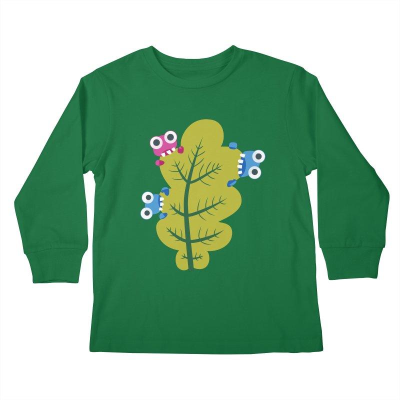 Cute Green Leaf Eaters Kids Longsleeve T-Shirt by Boriana's Artist Shop
