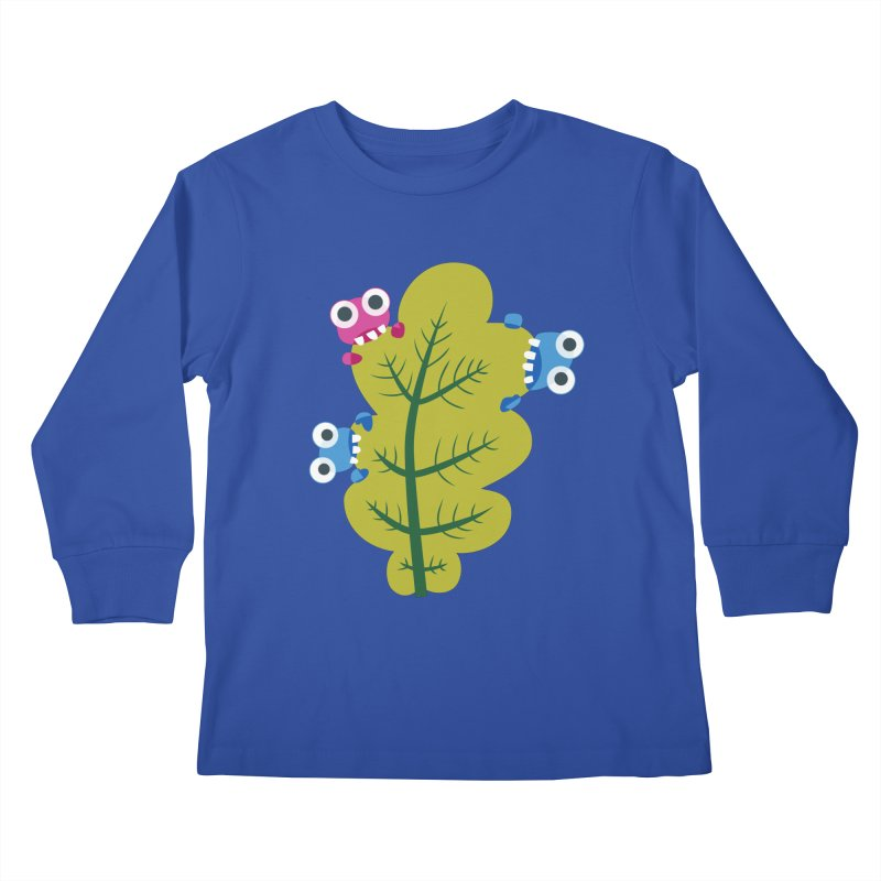 Cute Green Leaf Eaters Kids Longsleeve T-Shirt by Boriana's Artist Shop