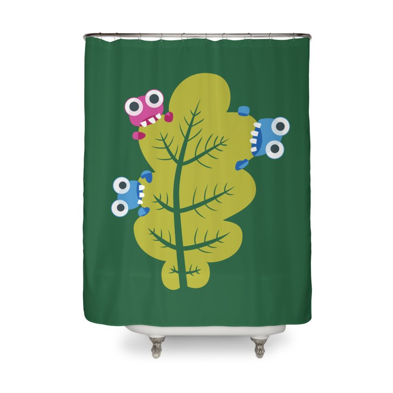 Cute Green Leaf Eaters Home Shower Curtain by Boriana's Artist Shop