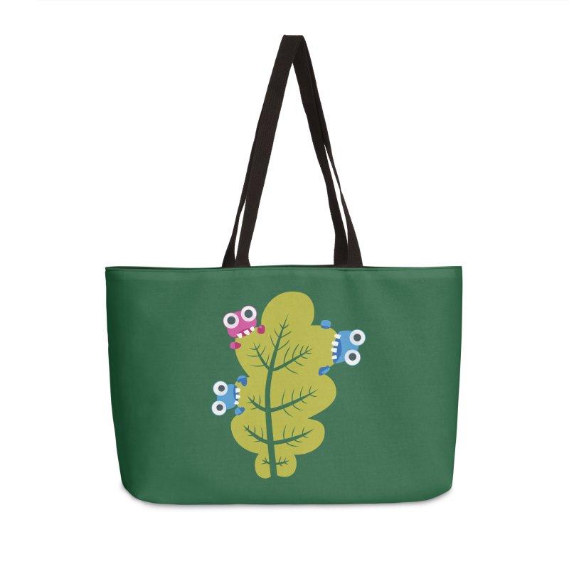 Cute Green Leaf Eaters Accessories Weekender Bag Bag by Boriana's Artist Shop