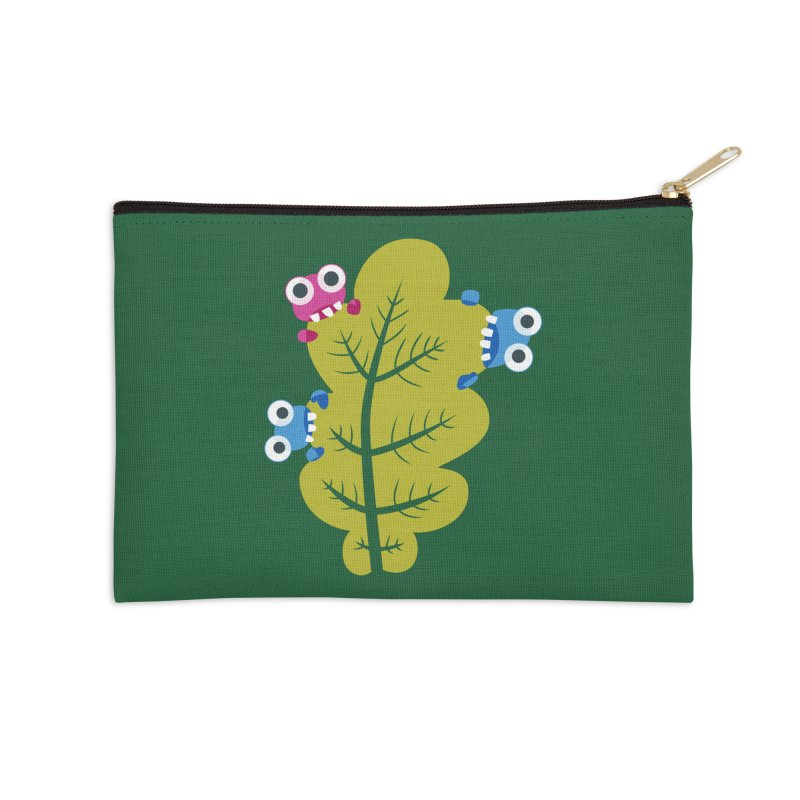 Cute Green Leaf Eaters Accessories Zip Pouch by Boriana's Artist Shop