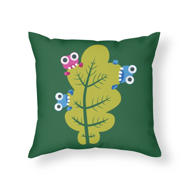Cute Green Leaf Eaters Home Throw Pillow by Boriana's Artist Shop