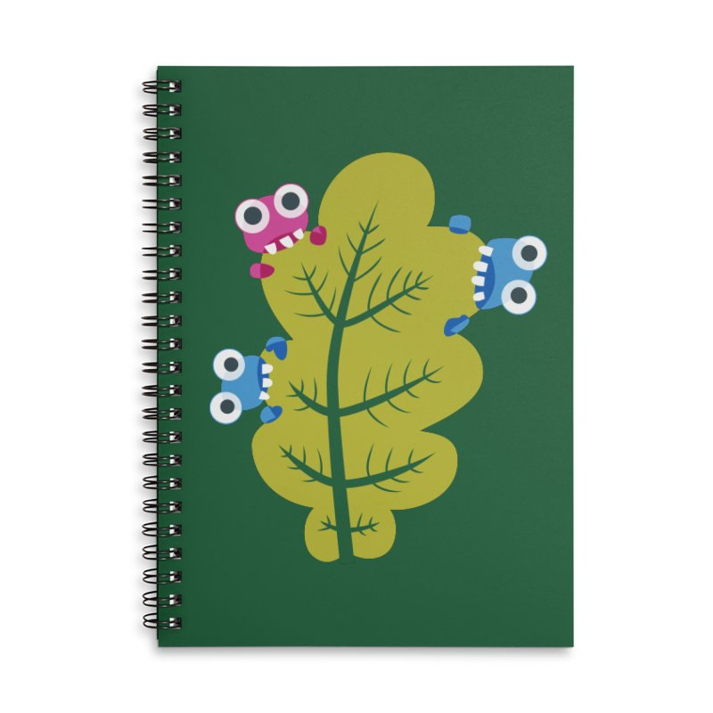 Cute Green Leaf Eaters Accessories Lined Spiral Notebook by Boriana's Artist Shop