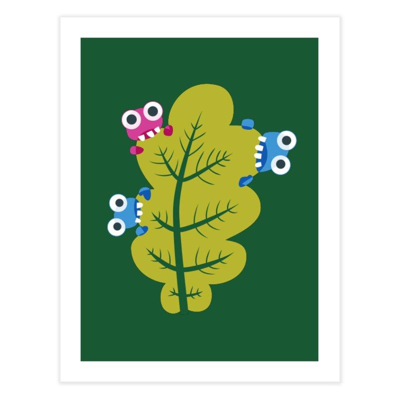 Cute Green Leaf Eaters Home Fine Art Print by Boriana's Artist Shop