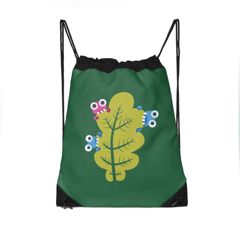 Cute Green Leaf Eaters Accessories Drawstring Bag Bag by Boriana's Artist Shop