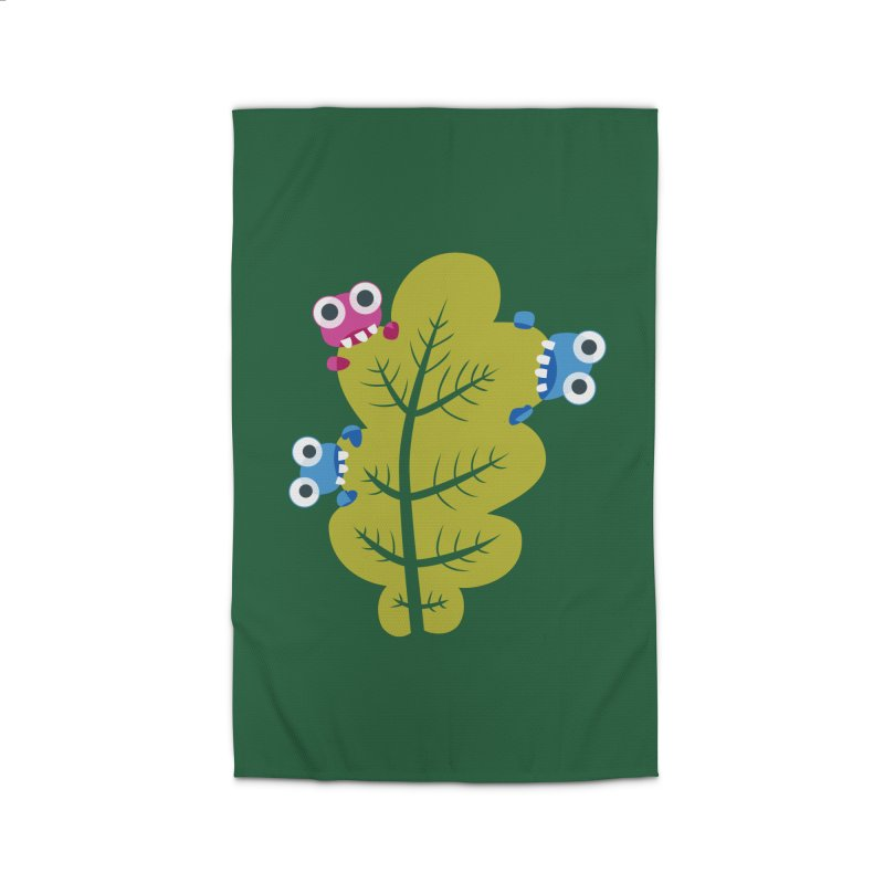 Cute Green Leaf Eaters Home Rug by Boriana's Artist Shop