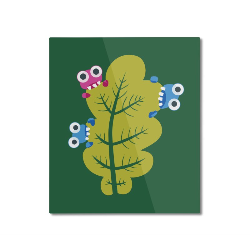 Cute Green Leaf Eaters Home Mounted Aluminum Print by Boriana's Artist Shop