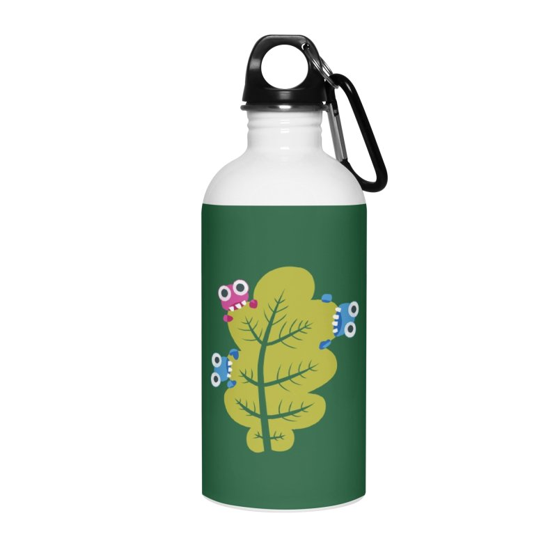 Cute Green Leaf Eaters Accessories Water Bottle by Boriana's Artist Shop