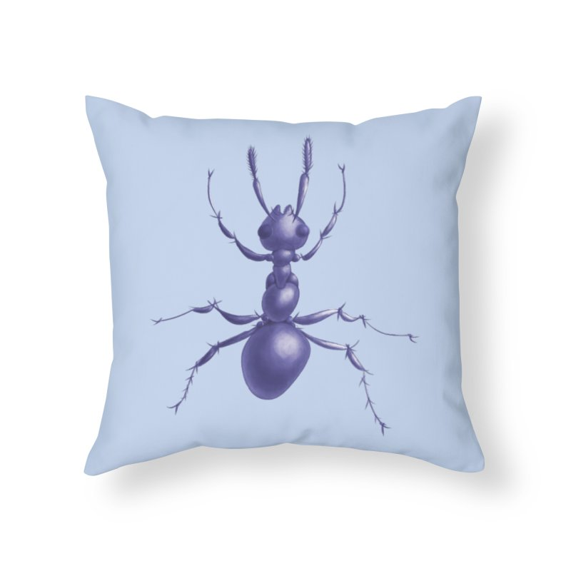 Purple Ant Digital Drawing Home Throw Pillow by Boriana's Artist Shop