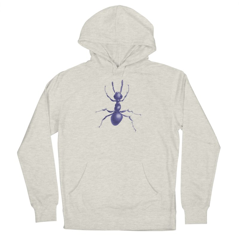 Purple Ant Digital Drawing Men's French Terry Pullover Hoody by Boriana's Artist Shop