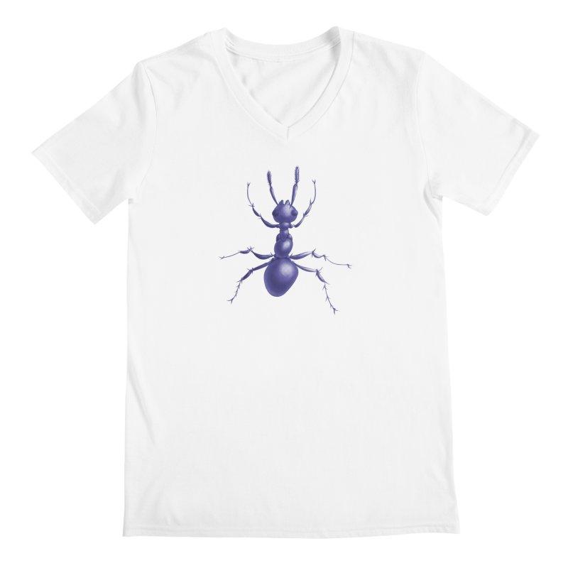 Purple Ant Digital Drawing Men's Regular V-Neck by Boriana's Artist Shop
