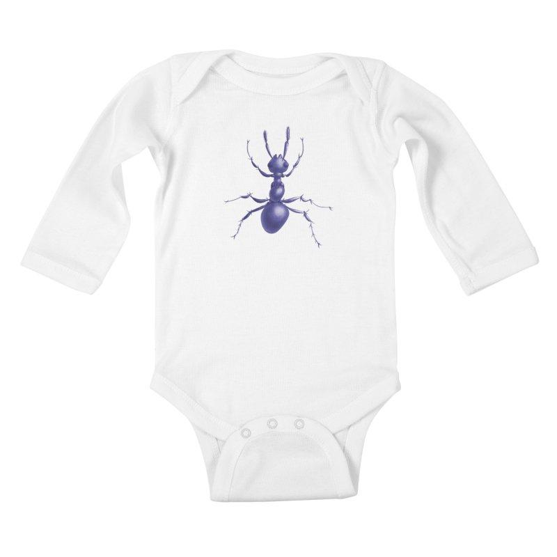 Purple Ant Digital Drawing Kids Baby Longsleeve Bodysuit by Boriana's Artist Shop