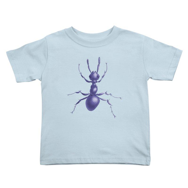 Purple Ant Digital Drawing Kids Toddler T-Shirt by Boriana's Artist Shop