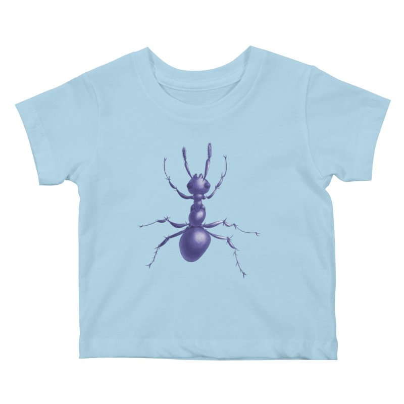 Purple Ant Digital Drawing Kids Baby T-Shirt by Boriana's Artist Shop