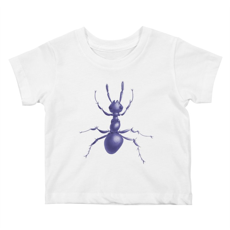 Purple Ant Digital Drawing Kids Baby T-Shirt by Boriana's Artist Shop